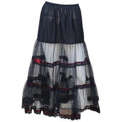Vintage Black Net Tulle & Lace Crinoline Slip