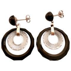 Vintage Black Onyx and Crystal 14 Karat White Gold Post Earrings