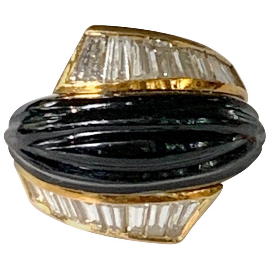 Vintage Black Onyx and Diamond Baguette 18 Karat Gold Ring
