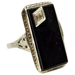 Vintage Black Onyx and Diamond Ring 14 Karat White Gold