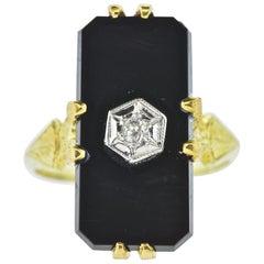 Vintage Black Onyx, Diamond and Yellow and White Gold Ring, circa 1940