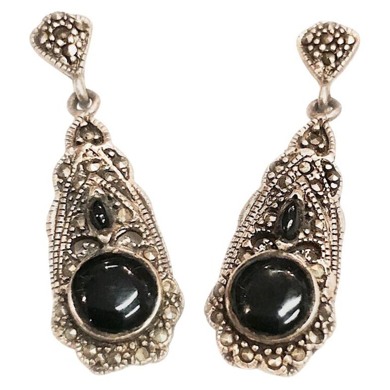 888914f3e Vintage Black Onyx Sterling Hematite Dangle Earrings w/ Floral Cutout For  Sale