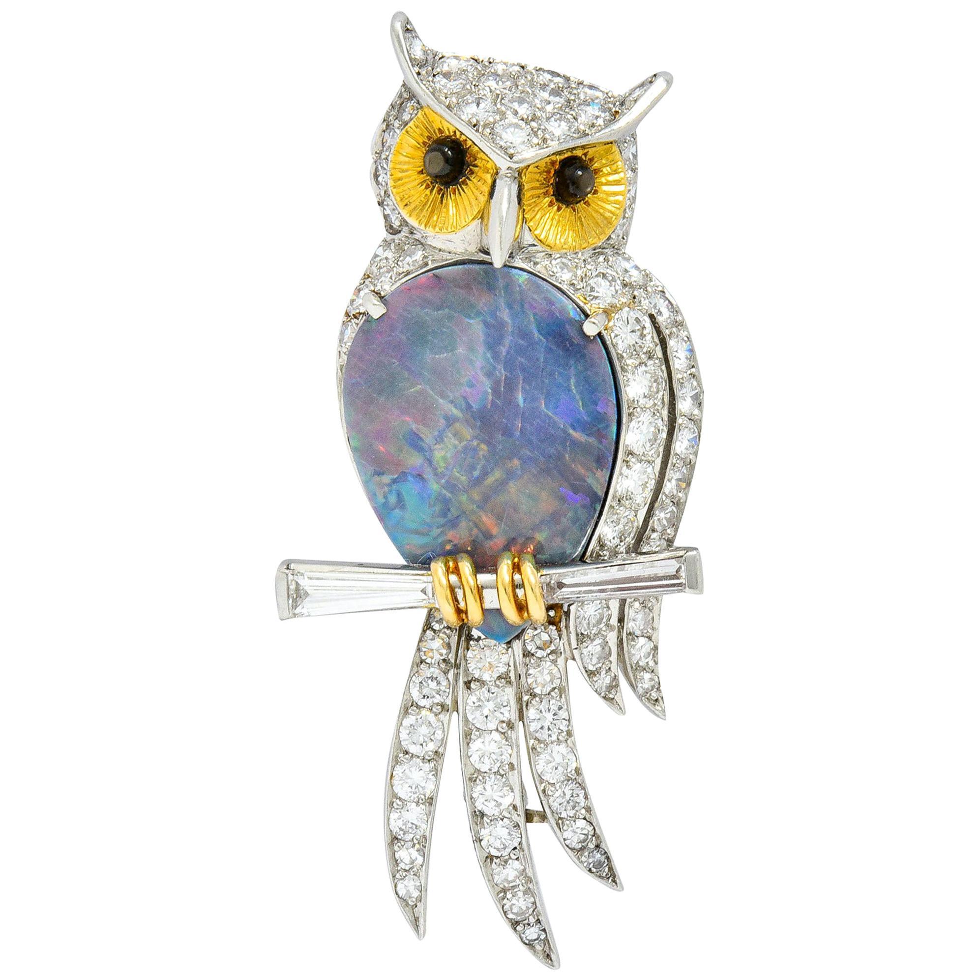 Vintage Black Opal Diamond Platinum 18 Karat Gold Owl Brooch