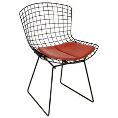 Vintage Black Original Harry Bertoia Chair by Knoll International, 1950 Red Seat