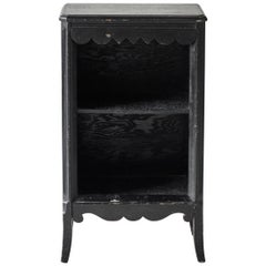 Vintage Black Painted Nightstand with Shelf