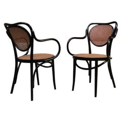Vintage Black Painted Wood and Vienna Straw Thonet Chairs, 1950s