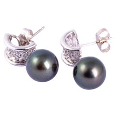 Vintage Black Pearl and Diamond 14 Carat White Gold Drop Earrings