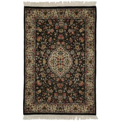Vintage Black Persian Vase Design Pakistani Rug with Baroque Floral Chintz Style