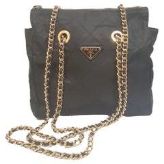 Vintage Black Prada Nylon Bag with gold chain straps