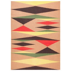 Vintage Black Red Yellow Green and Cream French Art Deco Kilim