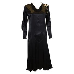 Vintage Black Satin 1920s dress with floral trim