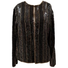 Vintage black sequins gold beads jacket