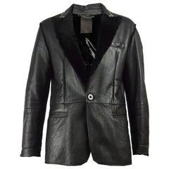 Vintage Black Sheepskin Leather & Shearling Studded Reptile Effect Mens Overcoat