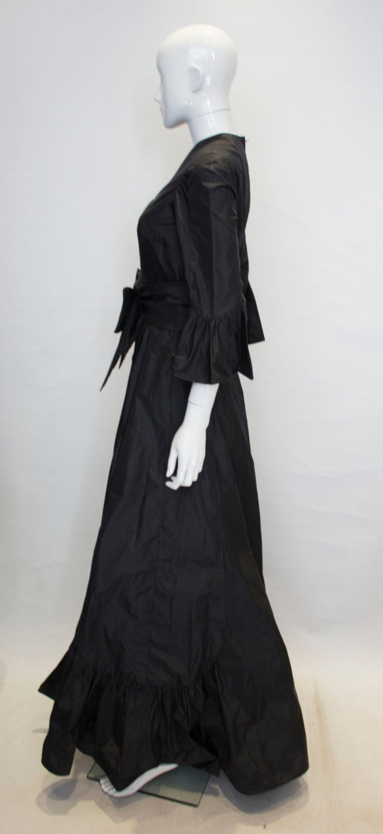 Women's Vintage Black Silk Gown For Sale
