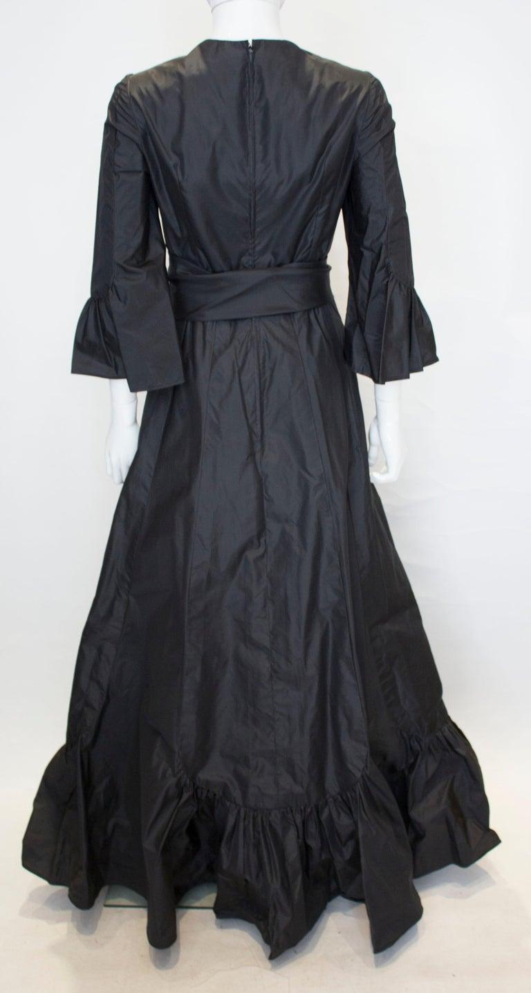 Vintage Black Silk Gown For Sale 2