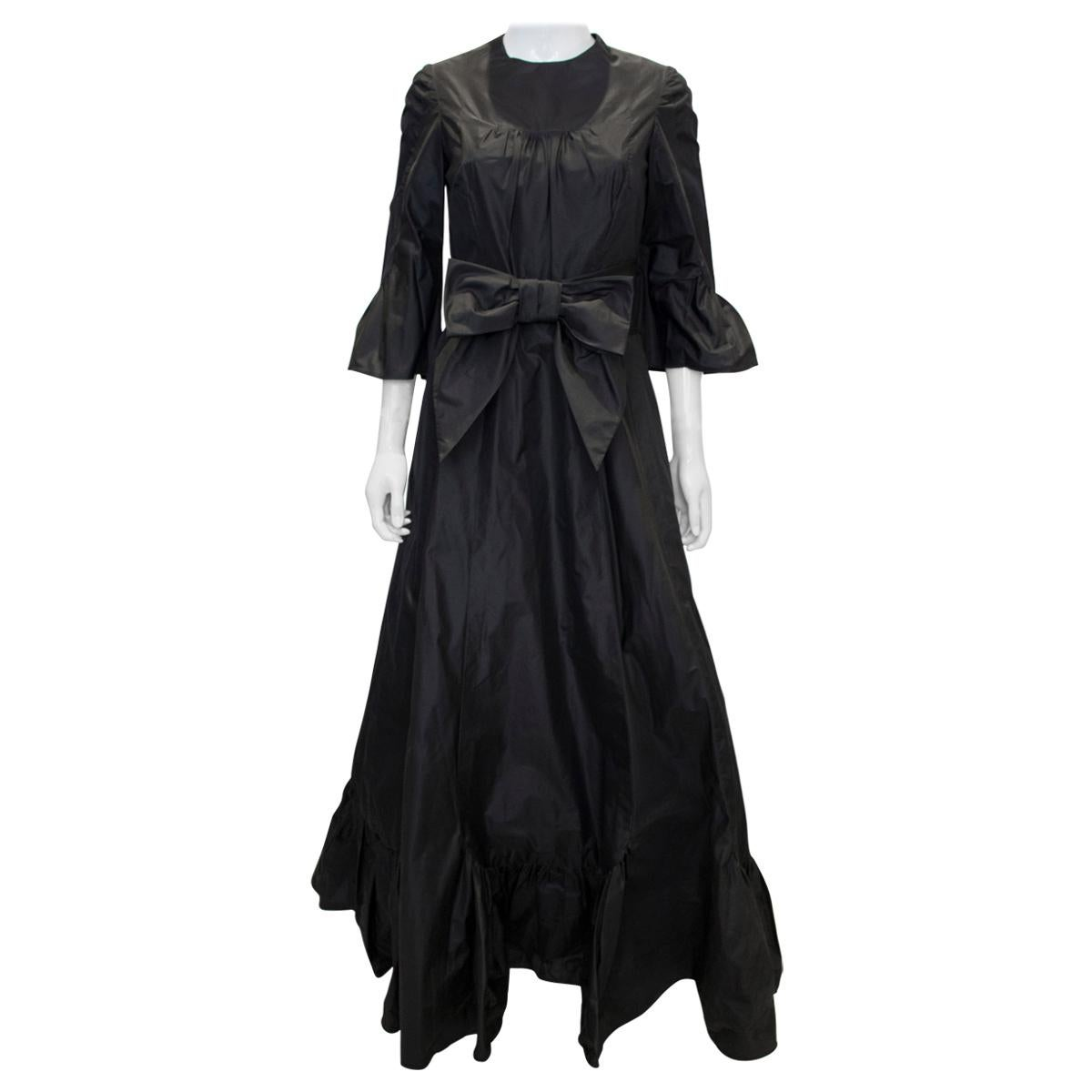 Vintage Hartnell Black Silk Gown