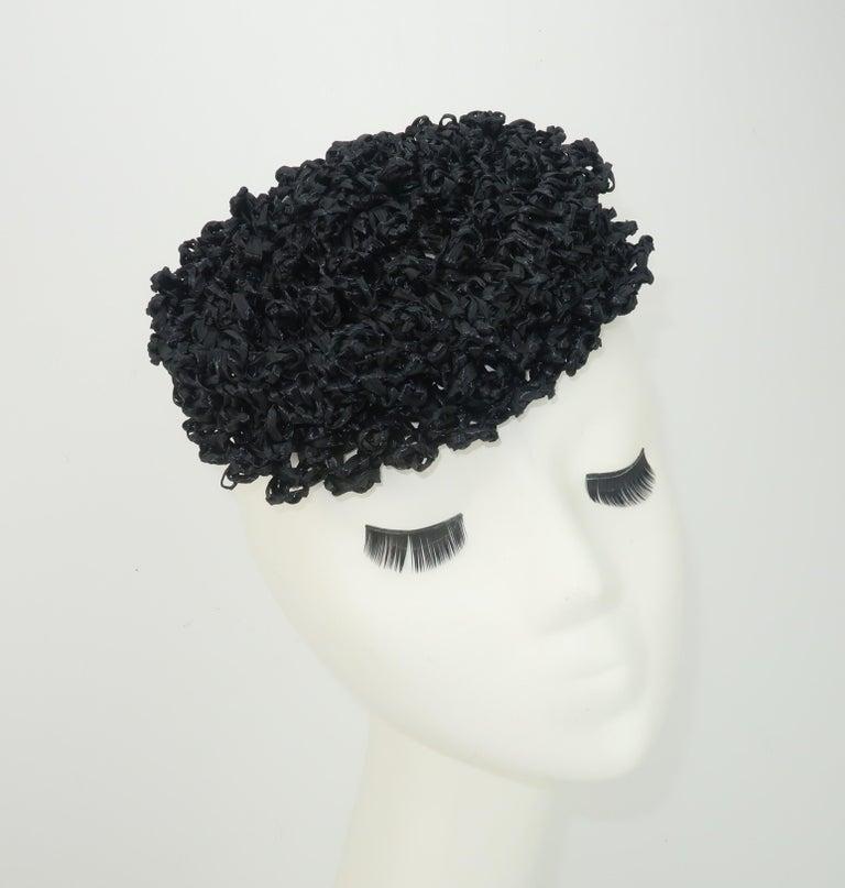 Women's Vintage Black Straw Curlicue Fascinator Hat For Sale