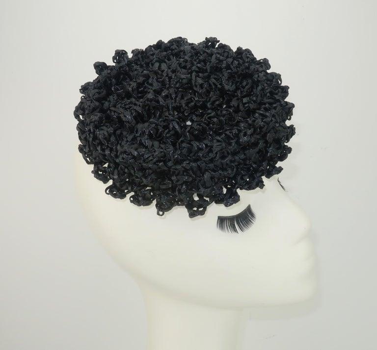 Vintage Black Straw Curlicue Fascinator Hat For Sale 1