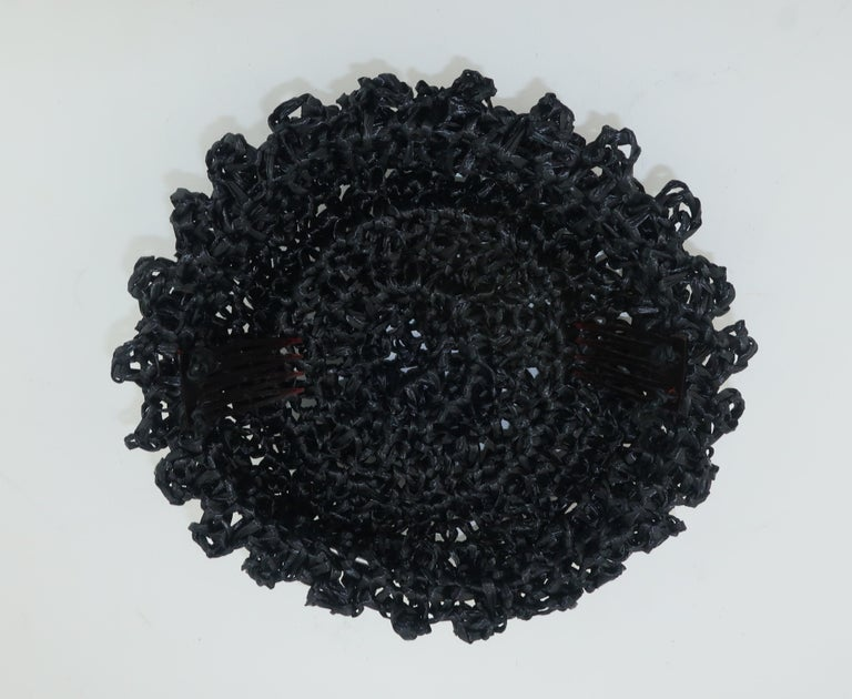 Vintage Black Straw Curlicue Fascinator Hat For Sale 3