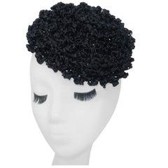 Vintage Black Straw Curlicue Fascinator Hat