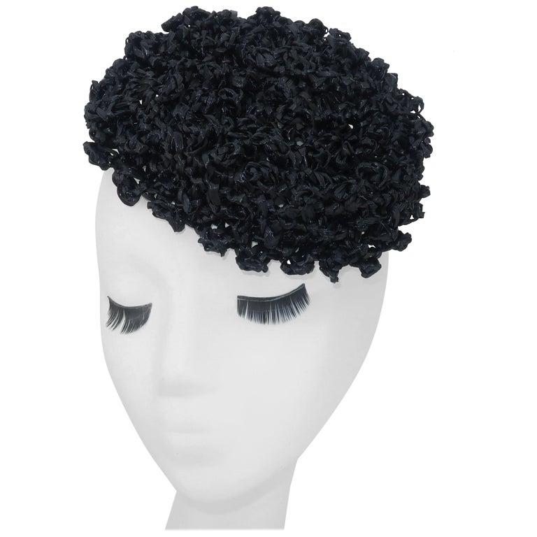 Vintage Black Straw Curlicue Fascinator Hat For Sale