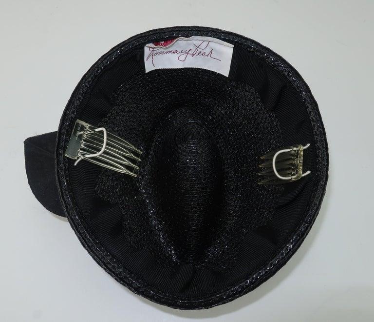 Vintage Black Straw Fascinator Hat With Gold Sequins For Sale 5
