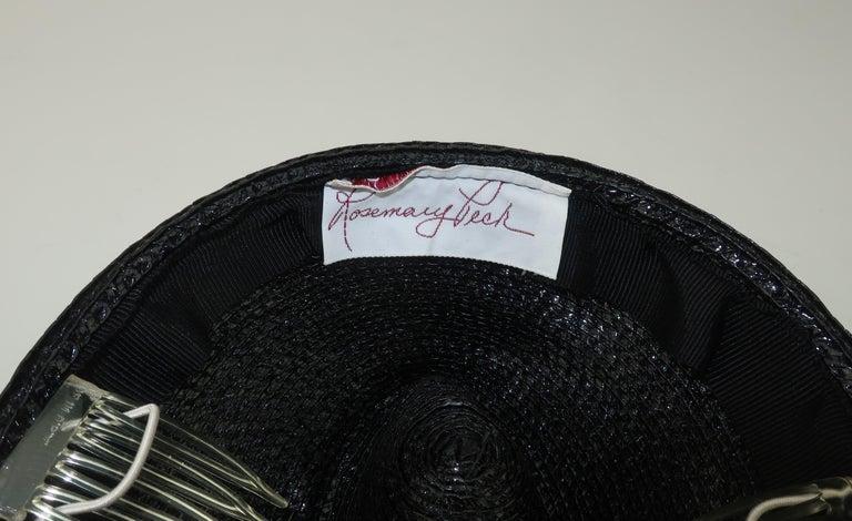 Vintage Black Straw Fascinator Hat With Gold Sequins For Sale 6