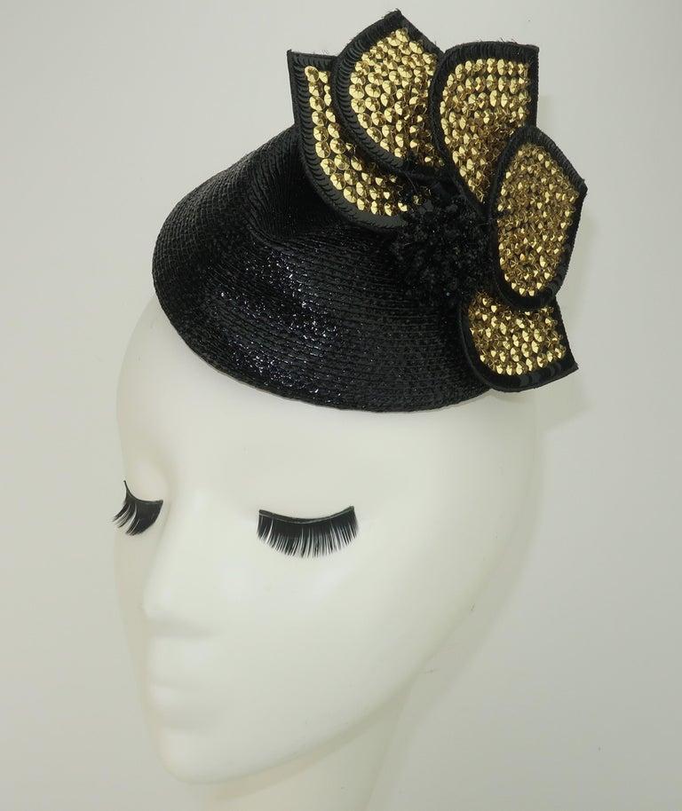 Gray Vintage Black Straw Fascinator Hat With Gold Sequins For Sale