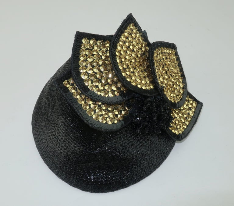 Women's Vintage Black Straw Fascinator Hat With Gold Sequins For Sale