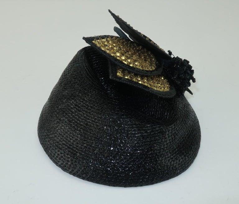 Vintage Black Straw Fascinator Hat With Gold Sequins For Sale 1
