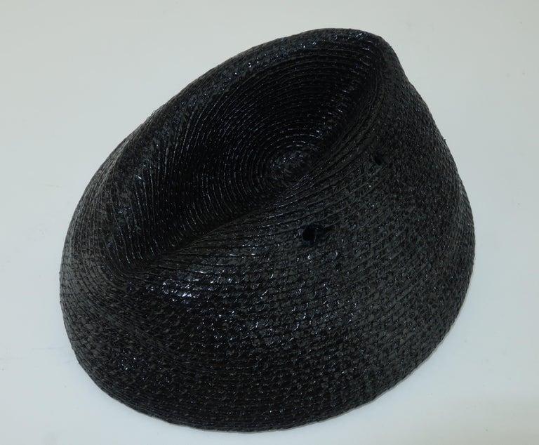 Vintage Black Straw Fascinator Hat With Gold Sequins For Sale 2
