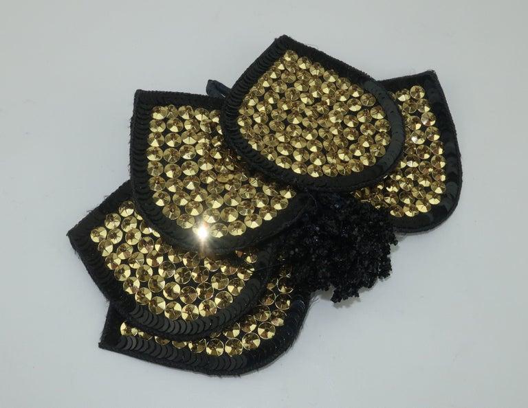 Vintage Black Straw Fascinator Hat With Gold Sequins For Sale 3