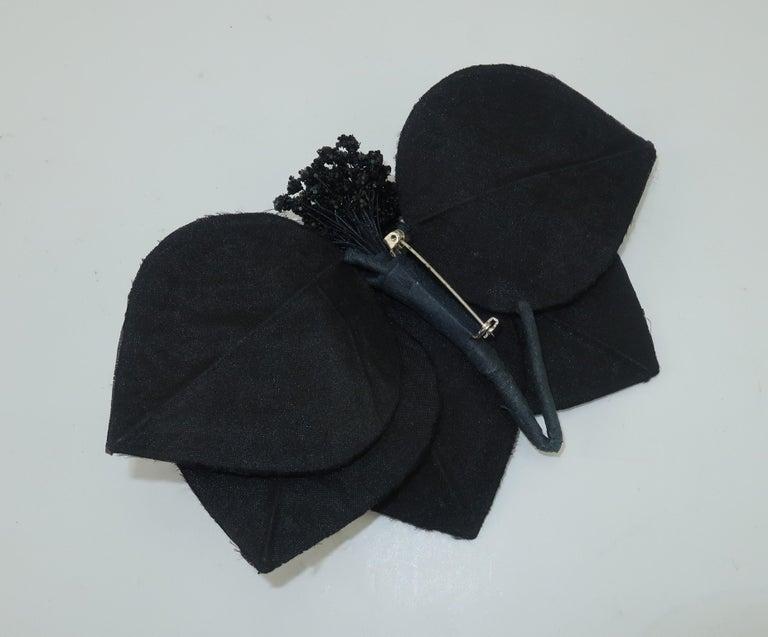 Vintage Black Straw Fascinator Hat With Gold Sequins For Sale 4