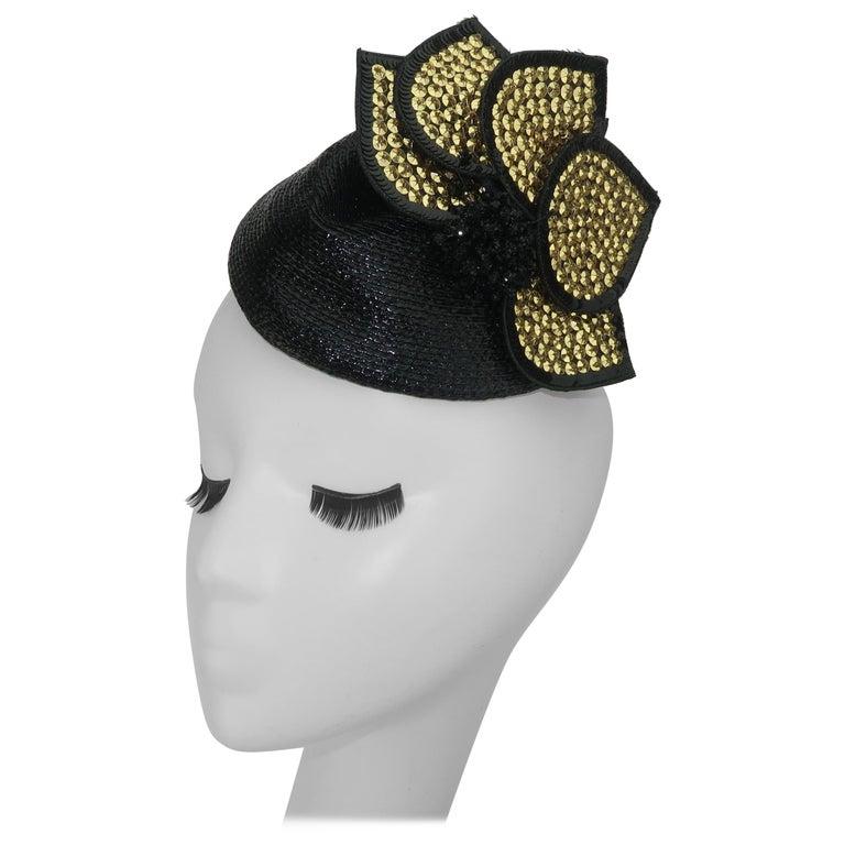 Vintage Black Straw Fascinator Hat With Gold Sequins For Sale