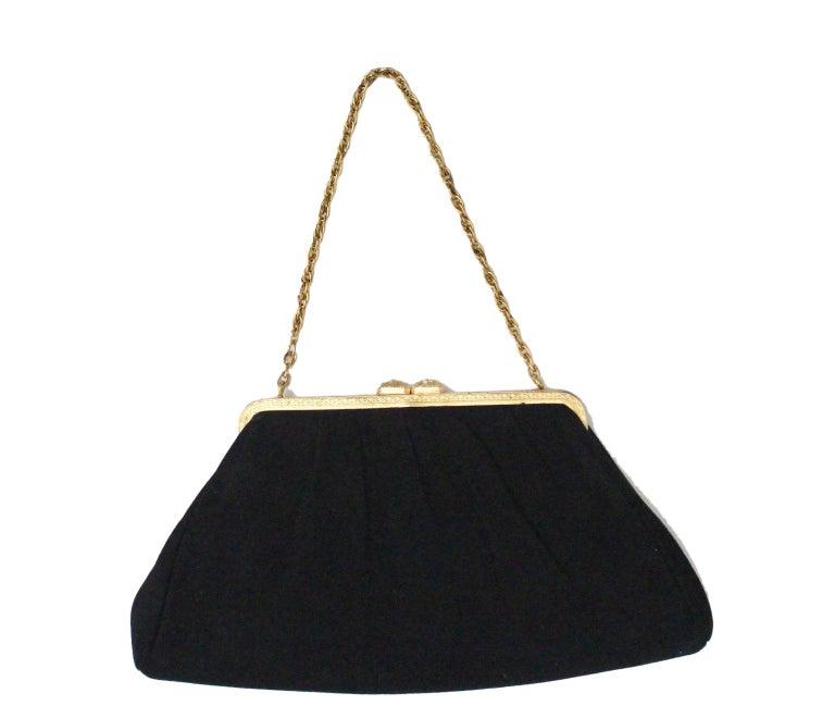 28351ff606cf Vintage Black Suede Evening Bag France 1960s For Sale at 1stdibs