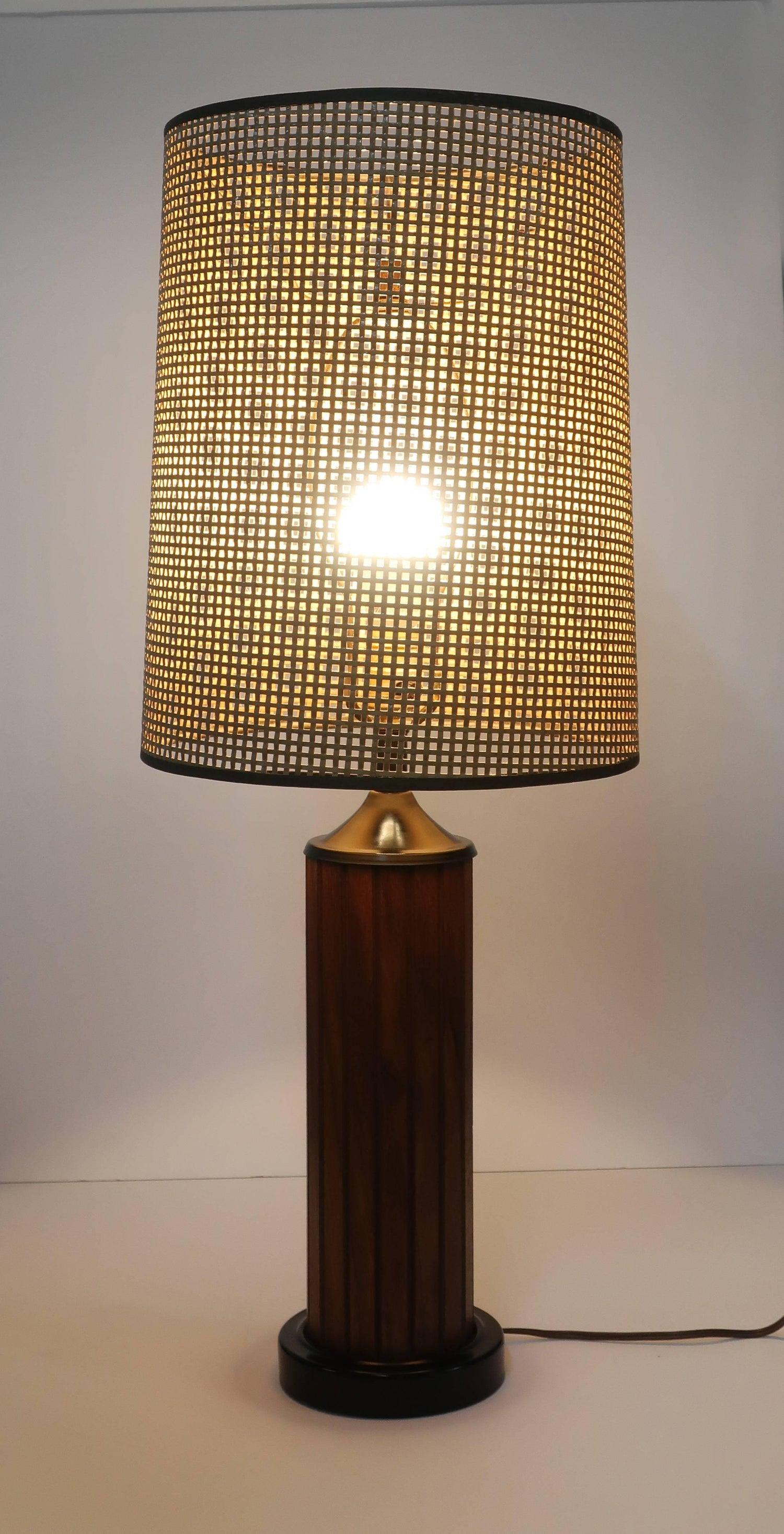 Vintage Black Teak Panel Table Lamp