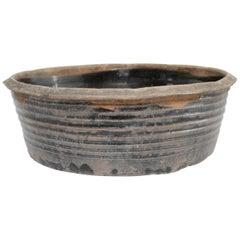 Vintage Black Terracotta Large Bowl