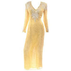 Vintage Black Tie Fully Beaded Gold Evening Dress With Open Back