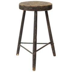 Vintage Black Tripod Stool with Rustic Wood Top