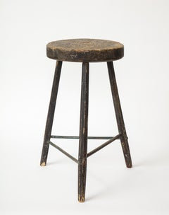 Vintage Black Tripod Stool with Rustic Wood Top