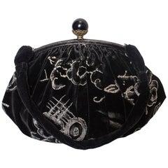 Vintage Schwarze Samt Handtasche