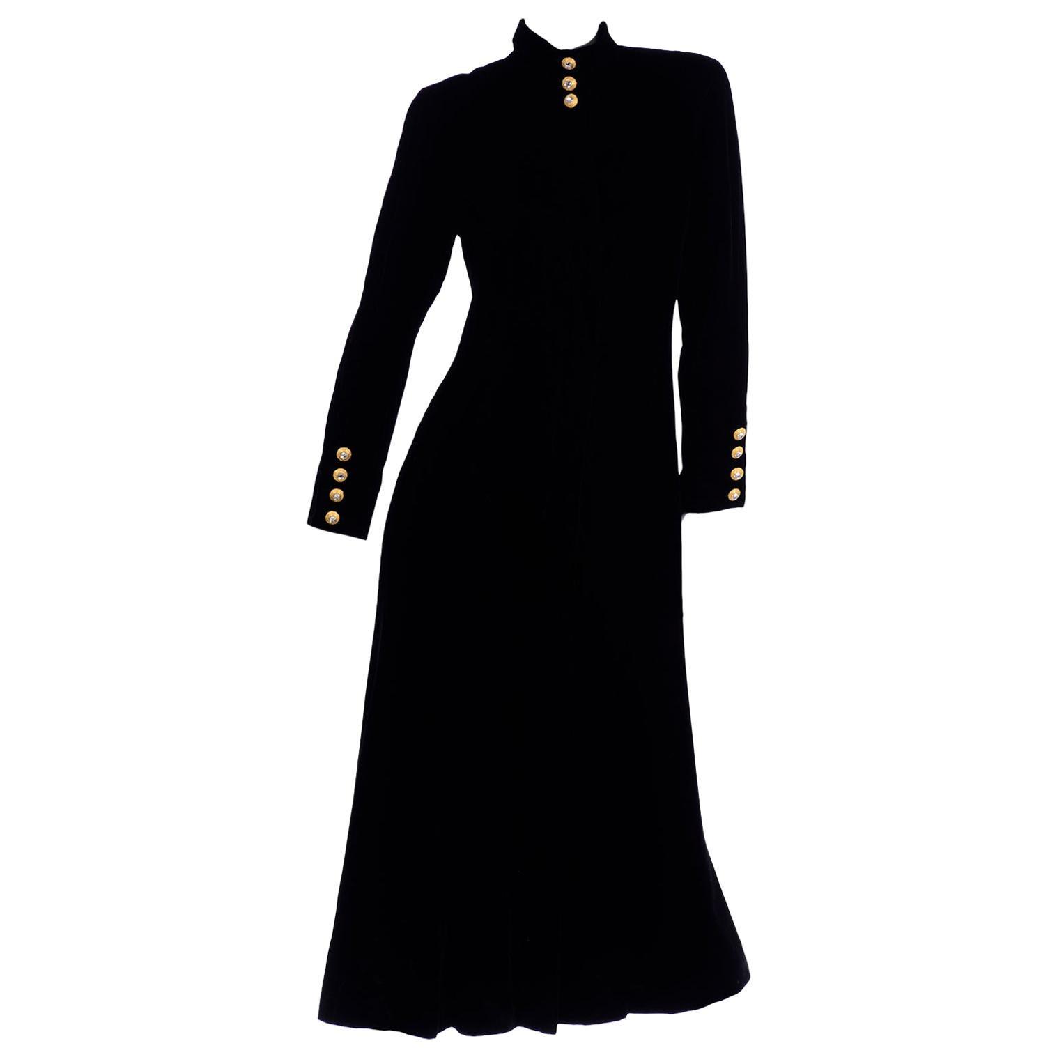 Vintage Black Velvet Long Coat with Gold Rhinestone Buttons