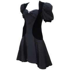 Vintage Black Velvet Quilted Dress With High Low Hem, 1980's