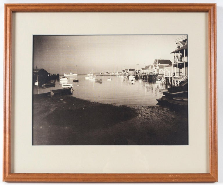 Vintage Black and White Photograph, Nantucket Harbor, circa 1935. James F. Barker (1871-1950) was an artist and photographer with generational history on Nantucket. He maintained a studio/gallery on Nantucket, Eagle's Wing.