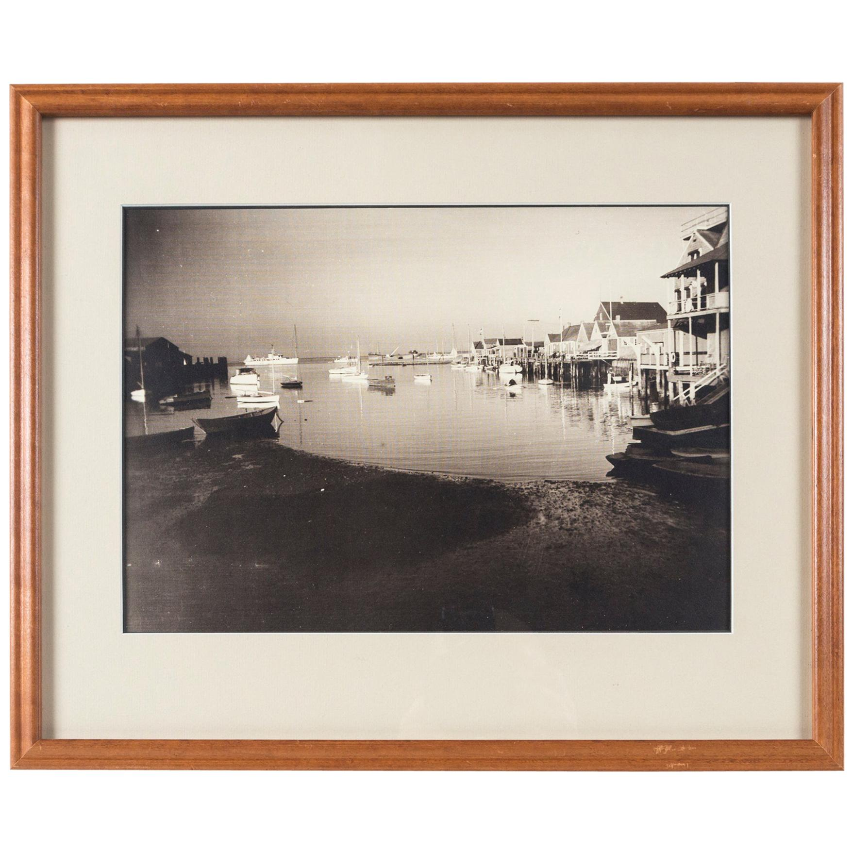 Vintage Black & White Photograph, Nantucket Harbor, James F. Barker, circa 1935