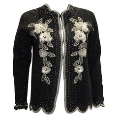 Vintage Black Wool Cardigan with Sequin , Bead and Pearl decoration