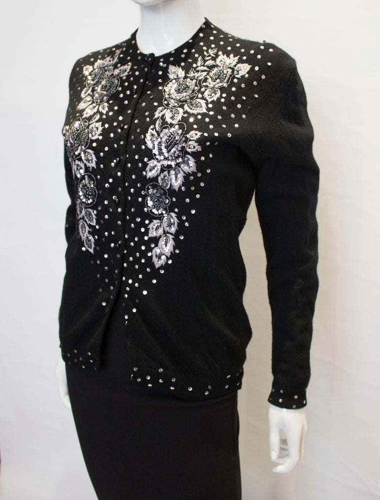 Vintage Black Wool Cardigan with Wonderful Pearl, Sequin and Bead detail. In Good Condition For Sale In London, GB