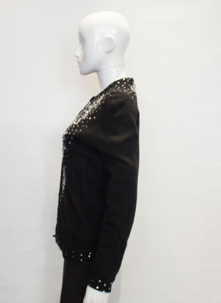 Vintage Black Wool Cardigan with Wonderful Pearl, Sequin and Bead detail. For Sale 2