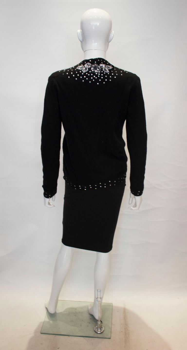 Vintage Black Wool Cardigan with Wonderful Pearl, Sequin and Bead detail. For Sale 4
