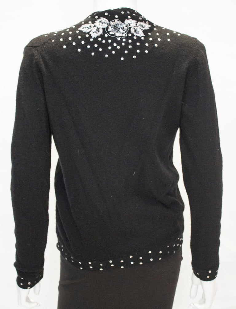 Vintage Black Wool Cardigan with Wonderful Pearl, Sequin and Bead detail. For Sale 5